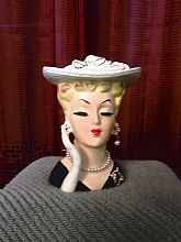 Single Right Hand w/Glove, Hat and Pearls, Vintage item from the 1950s,	Height: 5 In, Width: 4.5 in. 4 In. deep