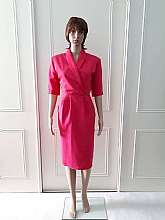 Classic Woman 1980's vintage fully lined short sleeved pink knee length cross over dress with shoulder pads and side zip fastening and two front pockets with back slit in size 10 Measurements in inches Shoulder: 32