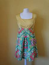 Retro City 1960's vintage yellow sleeveless mini dress with green, pink, white, orange and yelliw floaty skirt with back zip fastening and in size 12Shoulder: 28