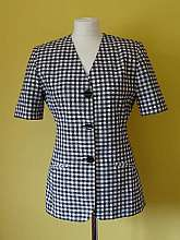 St Michael at Marks and Spencers 1980's vintage black and white checked fully lined short sleeved jacket with 3 large round buttons and two front pockets in size 10Measurements in inches Shoulder: 33