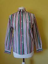 Mix and match 1980's vintage green, pink and blue stripey long sleeved blouse with front pocket and button fastening in size 10Measurements in inches Shoulder: 30