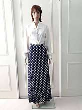 Dereta London 1970's vintage fully lined blue maxi length skirt with large white spots and pleated bottom section with side zip and two hook fastening (can be tighter it a bit looser in a size 12 (would best fit a size 8)Measurements in inches Waist: 2