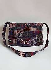 Cabrelli 1980's vintage embroidered needle point shoulder crossbody bag with coach and horse pattern and foldover flap with zip fastening.   The inside of the bag is fully lined with main compartment and smaller zipped pocket Measurements in inches Len