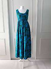 "Handmade 1960's vintage short sleeved flower power blue and green jumpsuit with flowey wide legs and button fastening in size small/medium (would fit a 10/12)Measurements in inches Shoulder: 28""Underarm: 34"" Shoulder to hem: 53""Waist:"