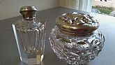 Sterling silver perfume bottle & women dresser jar with a sterling silver cap.
