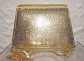 Stunning + Chic Vintage Bag by Legendary Designer Whiting & Davis!!    Gold Metallic mesh is timeless, stylish    long chain strap isbeautiful, elegant snap front flap closure    rare, structured firm shape    Clean, totally sp