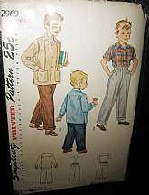 I love these old patterns.  This one is from the 1940s and is a Simplicity pattern for a boys shirt and slacks in a size 6.  The shirt can be short or long sleeve.  The slacks have an elastic waist.  The pattern is uncut.  The pattern # is 2969.  The enve