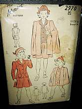 This is an Advance Pattern from the 1940s. The pattern  is #2970 and is a size 6.  It's a girl's jacket, skirt and cape pattern.  The pattern is unused uncut.  The envelope shows some wear and has a stain on the front.  If you have any questions, please c