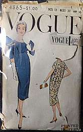 This is a wonderful dress pattern from the 1940s.  It is a Vogue Secial Design pattern #S-4865 in a size 13. It's complete with no missing pieces.  The envelope is worn with age but does have some tears.  If you have any questions, please contact me.  I w