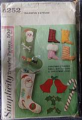 This vintage simplicity pattern #6252 is for Holiday items.  Make a Christmas Stocking for the kids. Or make small gift holders and Christmas trims. The Christmas stockings are approximately 18 inches long.