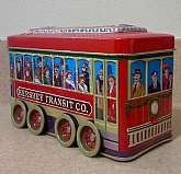 This is a Hershey Transit Co. holiday trolley candy tin.  The tin is shaped like a trolley and is designed to portray people trying to get home for Christmas.  The trolley tin has 8 wheels that actually spin allowing the trolley to move (almost like a toy