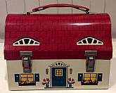 "This listing is for a RARE, highly collectible 1958 ""Dutch Cottage"" lunch box by Thermos.This is a metal, dome shaped box in the shape of a red roof cottage.  The box is missing its $250 matching thermos, but does still have its original therm"