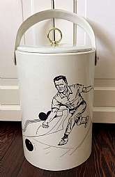 This listing is for a vintage vinyl ice bucket featuring a man bowling.  The bucket is fully white with black for the image transfer.  This is a vinyl bucket with a plastic interior.  The lid has a metal gold tone handle, but the lid does not seem to fit