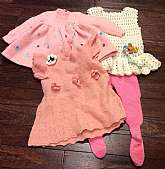 This listing is for a mixed lot of vintage, handmade little girl clothing!  This lot of 4 pieces is truly made with love and you can feel it when you touch these pieces.  3 of the 4 pieces are made of a cotton blend yarn and 1 ( the pink jacket) feels li