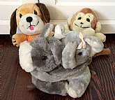 This listing is for 3, vintage R. Dakin Plushies!With your purchase you will receive all you see in the photos which includes the following:Hugging elephants Puppy dogMonkeyEach measures approximately 6-7