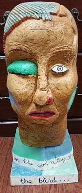 "This listing is for a unique, ethnic hand carved wooden bust of a man!This is a large sized bust measuring 23"" tall, 13"" wide and weighs 35lbs.  This is a signed piece of art made in 1996 and would be a great addition to any unique home or to"