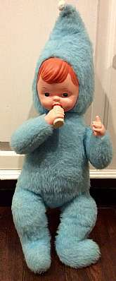 This listing is for a vintage, 1950s vinyl face, blue plush babydoll!!I believe this is a Rushton doll, but there are no seam tags.  The doll is not necessarily rare, but finding one in this color and condition is extremely hard to find.The doll is a &q