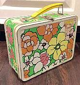 This listing is for a super Groovy/Mod floral lunch box!This metal flower power box was made by Thermos Brand in 1971. Despite having some sticker residue left behind from former owner, the box is in good condition for its age.  The colors remain super