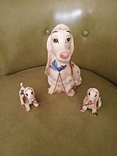 This pretty pooch presents her precious pups with pride! 1950's dog with 2 pups figurine. Made in Japan.