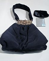 Vintage K&G Charlet Black Handbag / 40s Evening Bag with Metallic Floral Details. Original matching coin purse and mirror included