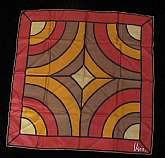 Great Vintage Vera Neumann SIlk Scarf, modern design in warm tones.Label reads:scarves by Veraall silk, handrolledmade in U.S.A