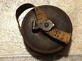 Antique Brass Tape Measure With 50ft Cloth Tape. Circa 1920. GREAT DECORATIVE PIECE!
