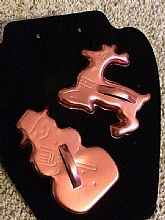 Vintage, Unused Copper-Tone Snowman And Reindeer Closed-Top Cookie Cutters With Detailed Faces, Broom, And Bell Collar