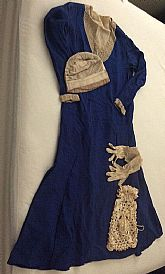 Tea dress with beading and matching cloche, gloves and bag