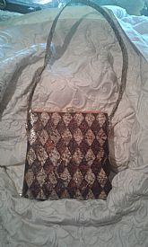 vintage snake skin purse in excellent condition with lucite decorations,