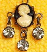 Vintage teeny-tiny carved cameo charm/pendant with blue stone dangles