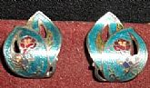 Silver tone Cloisonne Enamel  Earrings