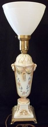 Hand Painted Porcelain Torchiere Lamp