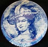 Vintage Blue Delft Transferware Charger Plate of Rembrandt's wife Saskia