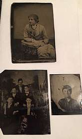 Tin type photos from an estate, Mixed lot of 3, please see photos. The group of men look like entertainers. Interesting single of the young man in a uniform type outfit. Great for any collection. In