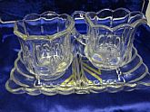 Sugar and Creamer Victorian Glass Set with original Tray ON Clearance Now