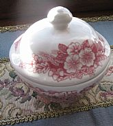 Broadhurst Ironstone Porcelain Butter or Sugar Bowl Made In England Pink flowers