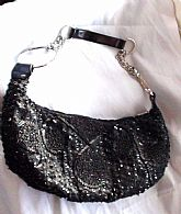 Cocktail Black Beaded Bag with Big Hoops Chain Excellent condition