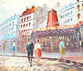 Impressionist Painting of the famous Moulin Rouge Cabaret French Art Signed Cuny
