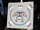 Original Navajo Indian Sand Painting Vintage Art from Arizona SIGNED BEGAY On Clearance Now