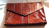 1970s Handbag Bag designed by Barbara Bolan made In Italy in wonderfully Brown Snake skin Leather