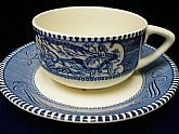 Vintage Beautiful Blue Porcelain and Bone China Lady on a Carriage vintage Tea Cup and Saucer Set