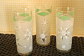Set of three Anchor Hocking Snowflake Tumbler Glasses