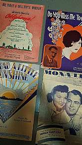 Nice lot of 4 different selections of sheet music.  Vintage and in good shape.  Great for framing, collecting, crafting.