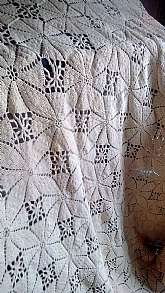 This is a vintage hand crocheted bed covering or tablecloth.  It is 54 X 84 with 8 inch fringe on 2 sides.  It is extremely heavy and in used condition.  It is for sale AS IS and it does have some minor snags but very unnoticeable.  It is a creamy biege t