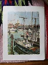 Vintage 1968 Don Davey San Francisco Harbor Print.  Don Davey's distinguished career started at the American Academy of Art in Chicago.  His work was published in Saturday Evening Post, McCalls and Fortune Magazines.Print has some minor light creasing