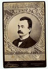 1890s Vintage Cabinet Photo: Gentleman with Mustache, Chicago Illinois