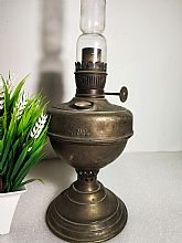 It is a Old Antique Original Brass Oil Kerosene Lamp R. DITMAR VIENNA Made in AUSTRIA, with original glass on it