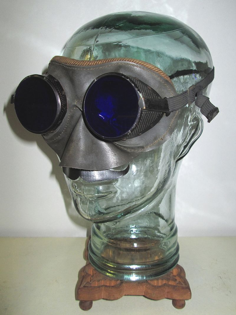 Antique Cobalt Blue WILLSON Goggles Leather Safety Glasses