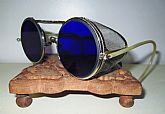 Antique Blue Willson Safety Glasses Spectacles Goggles