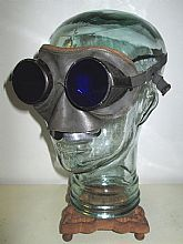 Antique Cobalt Blue WILLSON Goggles Leather Safety Glasses Spectacles Vintage